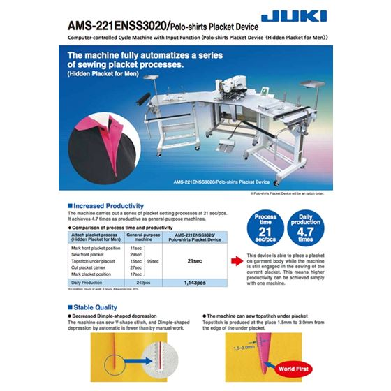 JUKI AMS-221EN HS3020/7200 Industrial Computer Controlled Cycle Sewing Machine